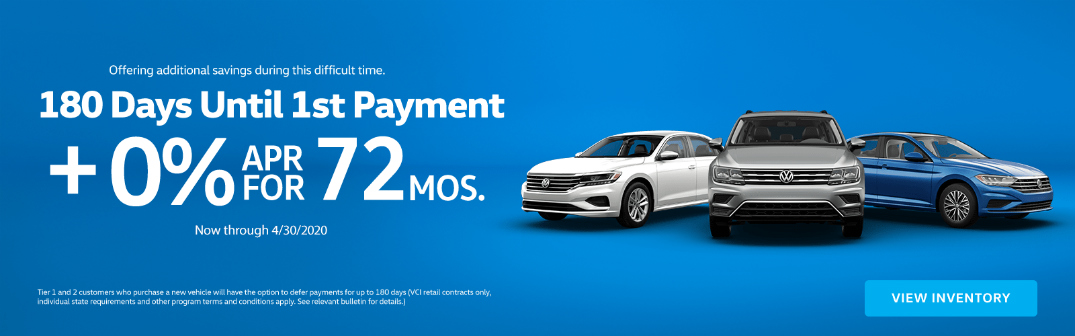 Details of Volkswagen deferred payment promotion and images of three Volkswagen models