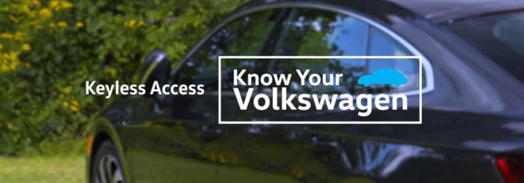Keyless Access Know Your Volkswagen title and a dark blue Volkswagen sedan