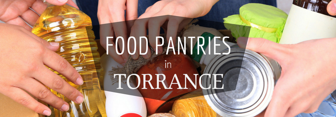 Food Pantries in Torrance Title over Background of Various Items of Food