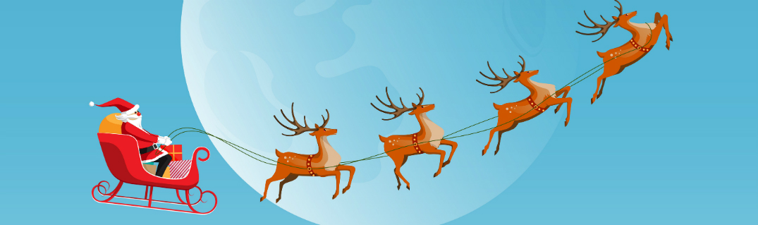 reindeer pulling santa and his sleigh in front of a full moon b