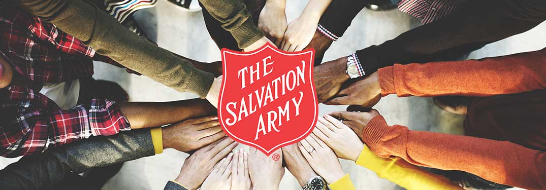 The Salvation Army Logo and Group of Hands Touching