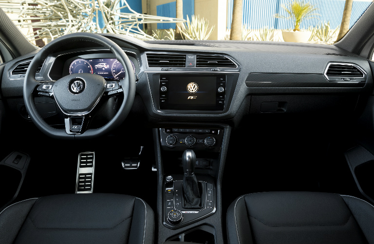 Dashboard and Black Front Seats of 2018 VW Tiguan with R-Line Appearance Package