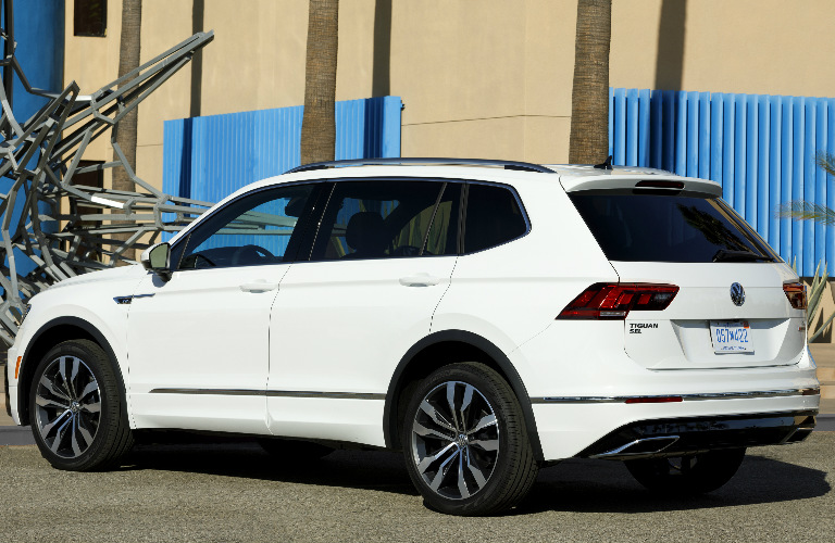 Rear View Of White 2018 VW Tiguan With R Line Appearance Package