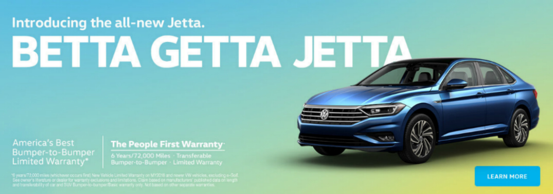 BETTA GETTA JETTA Heading and Blue 2019 VW Jetta