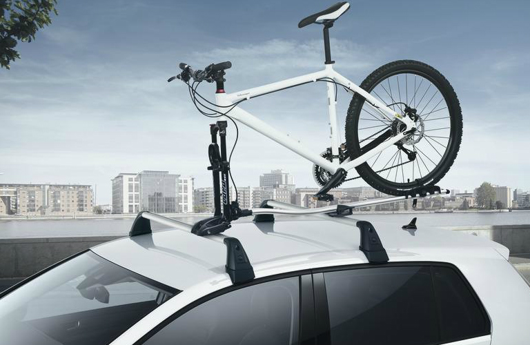 Bicycle Attached to the Bike Rack of a 2018 VW Tiguan