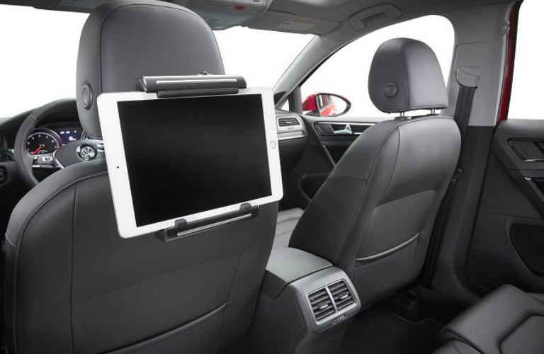 Tablet Attached to a Universal Tablet Holder in a 2018 VW Tiguan