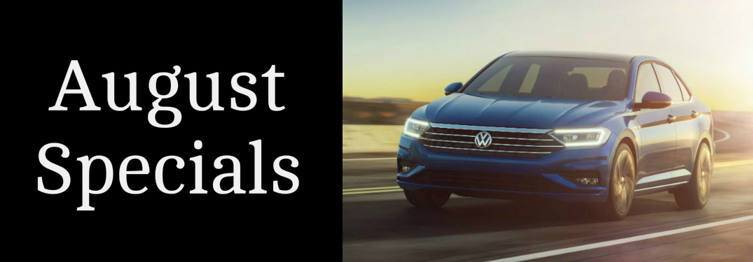 August Specials Title and a Blue 2019 VW Jetta