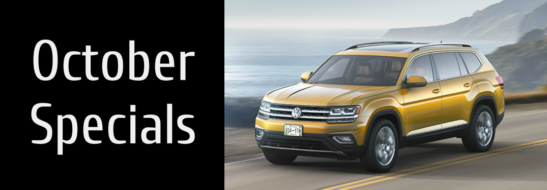October Specials Title and a Yellow 2018 VW Atlas