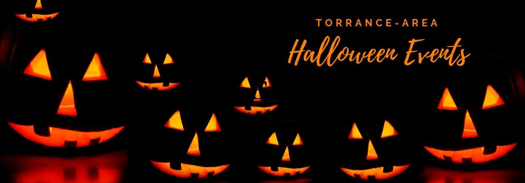 Torrance-Area Halloween Events Title and Many Glowing Jack-o'-lanterns