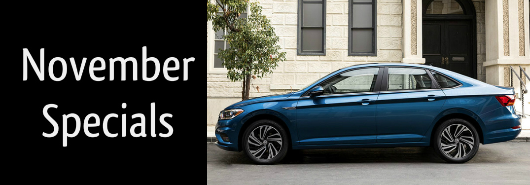 November specials title and a blue 2019 VW Jetta