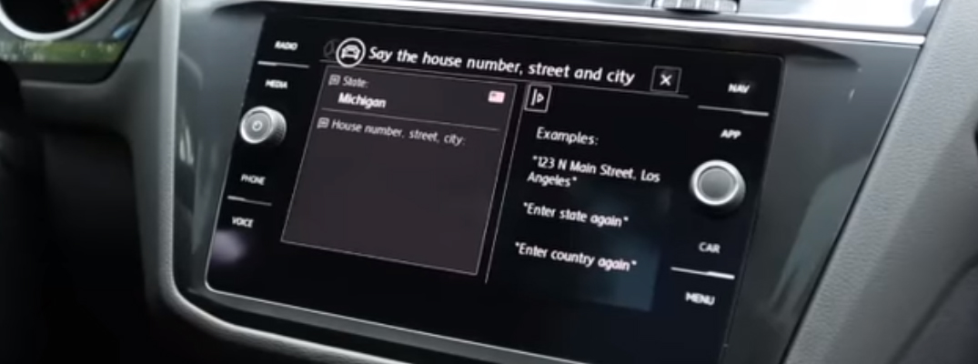 Demonstration of How to Choose a Destination with Voice Recognition in a Volkswagen
