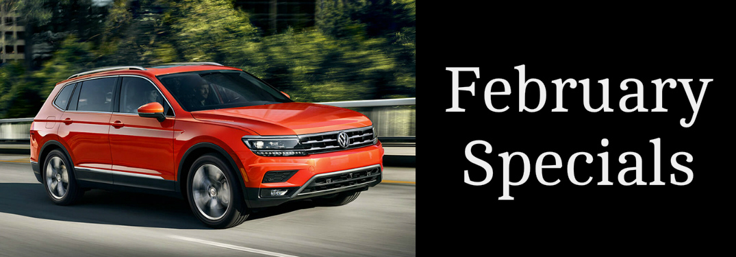 February Specials title and an orange 2019 Volkswagen Tiguan