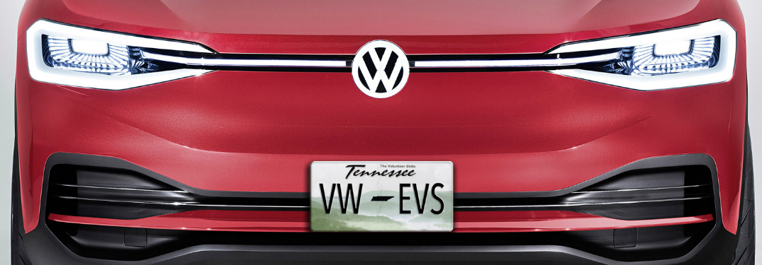 Red Volkswagen vehicle with a Tennessee license plate