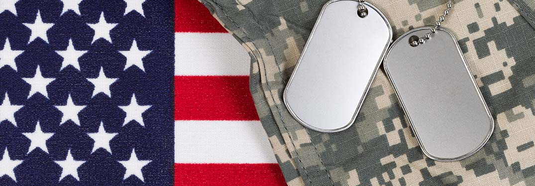 Military dog tags, camouflage clothing, and an American flag