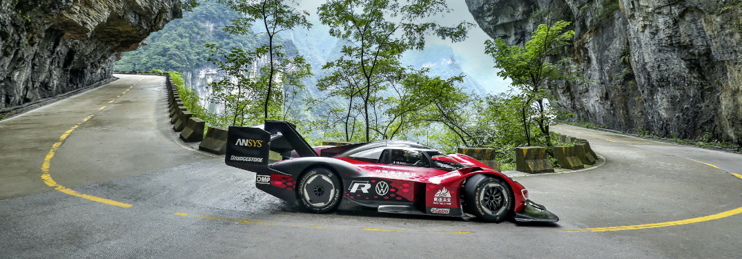 Volkswagen I.D. R driving on Tianmen Mountain Big Gate Road in China