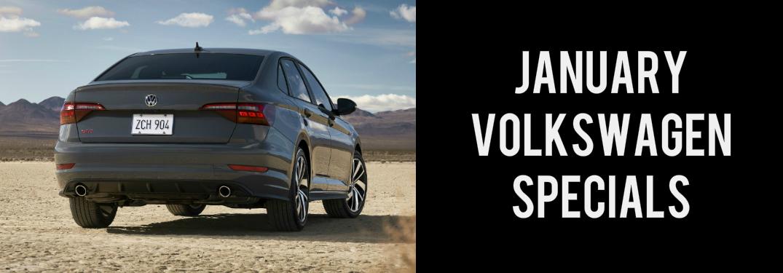 January Volkswagen Specials title and a grey 2019 Volkswagen Jetta GLI