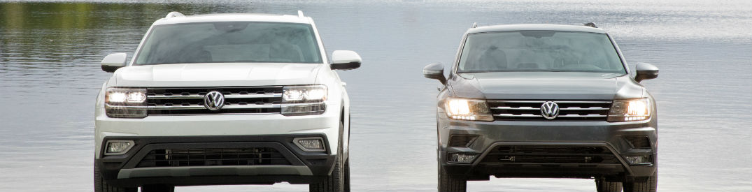 Front-exterior-view-of-2018-VW-Atlas-on-left-and-2018-VW-Tiguan-on-right