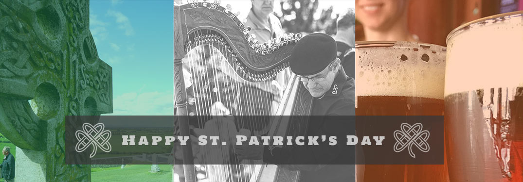 Happy St. Patrick's Day text over 3 images - Celtic cross, man playing harp, glasses of beer