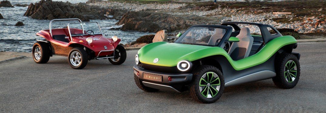 Red and green VW ID. BUGGY models side by side