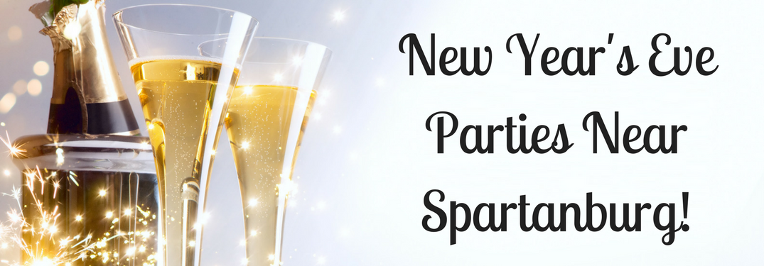 "champagne glasses background with text ""new year's eve parties near spartanburg"""