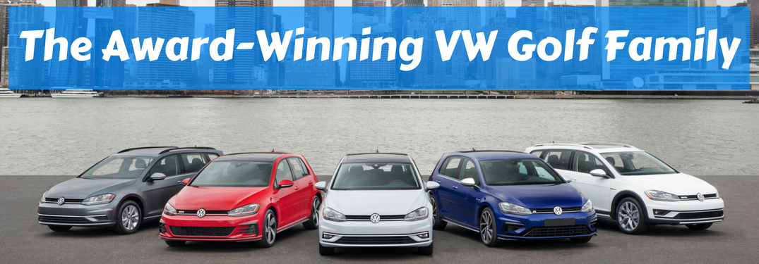 "volkswagen golf family lineup in front of city river and skyline with text ""the award-winning vw golf family"" above it"