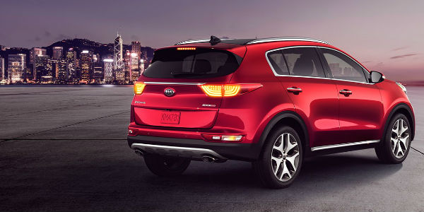 2018 Kia Sportage Rear And Side View In Red
