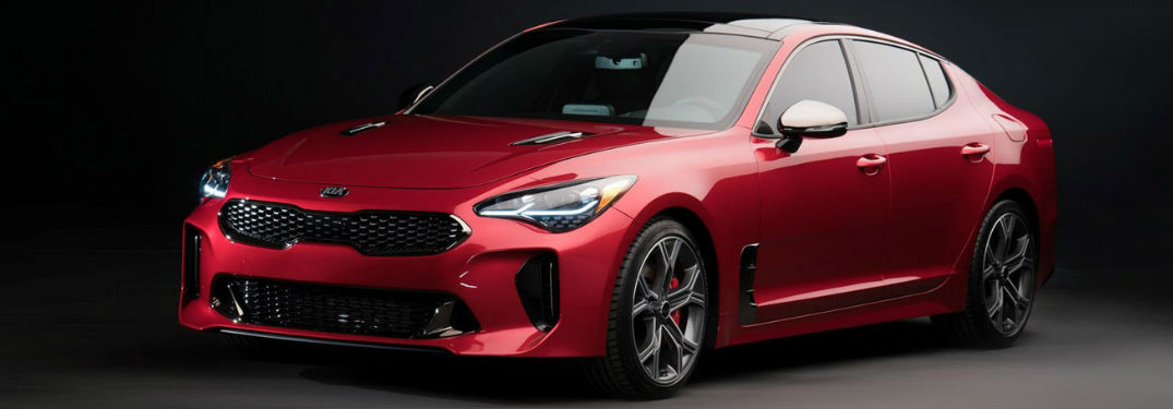 Exterior View of the 2018 Kia Stinger in Red