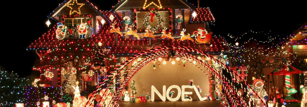 House Decorated in Christmas Lights Illuminated at Night