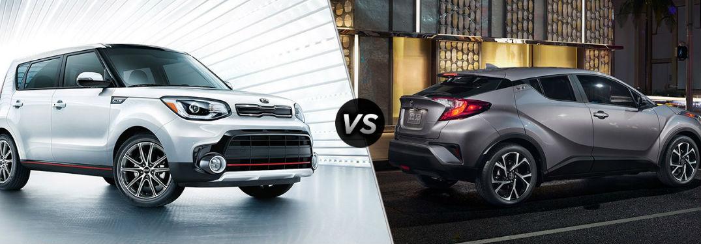 2018 Kia Soul in White vs 2018 Toyota C-HR in Gray