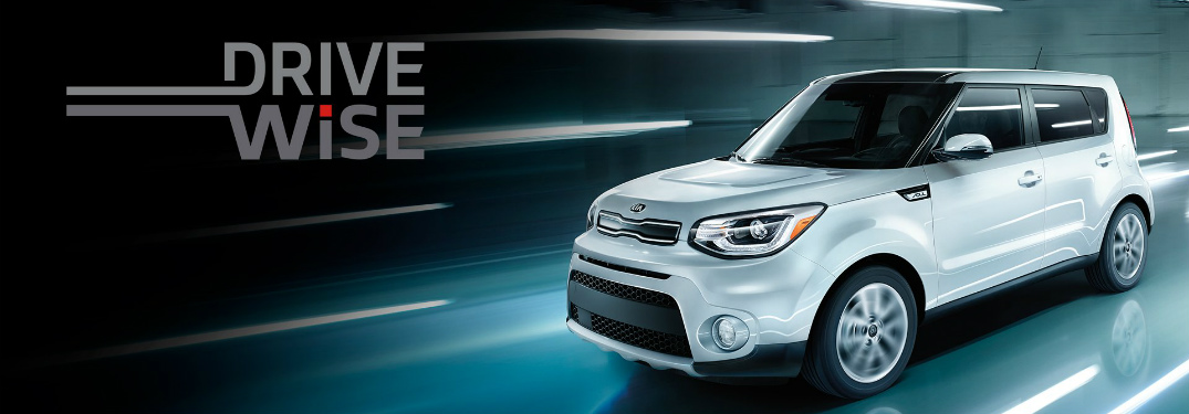 "kia soul with text that says ""drive wise"""
