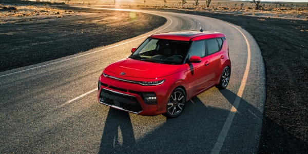 2020 Kia Soul Front View of Red Exterior