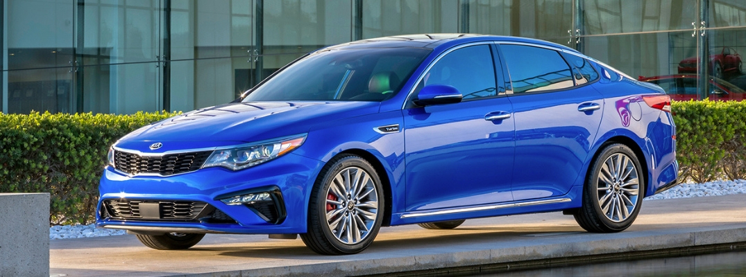 2019 Kia Optima Side View of Blue Exterior