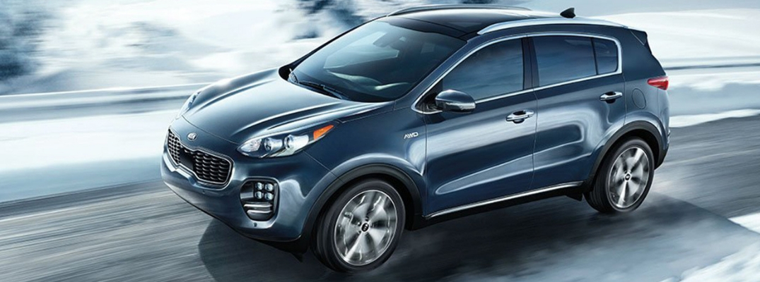 2019 Kia Sportage Side View of Dark Blue Exterior