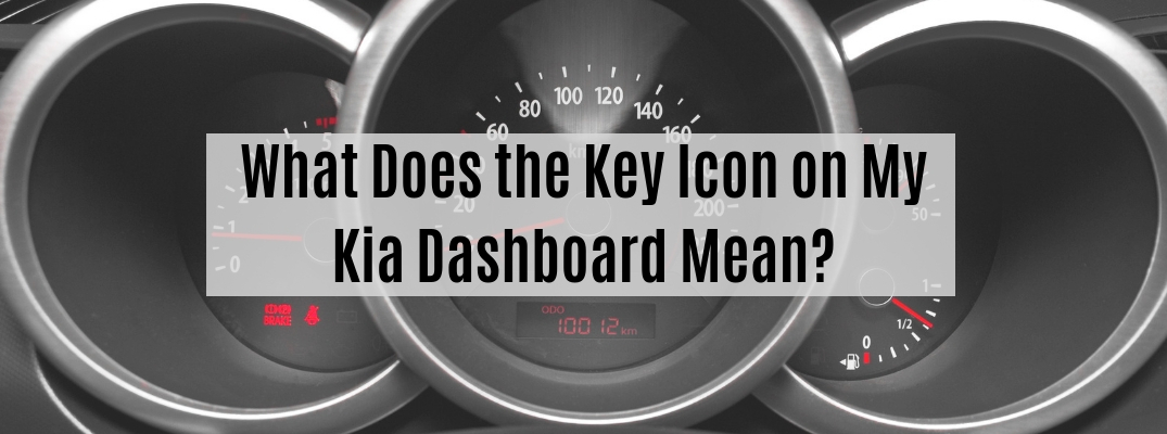 "Vehicle dashboard gauges with ""What Does the Key Icon on My Kia Dashboard Mean?"" text"