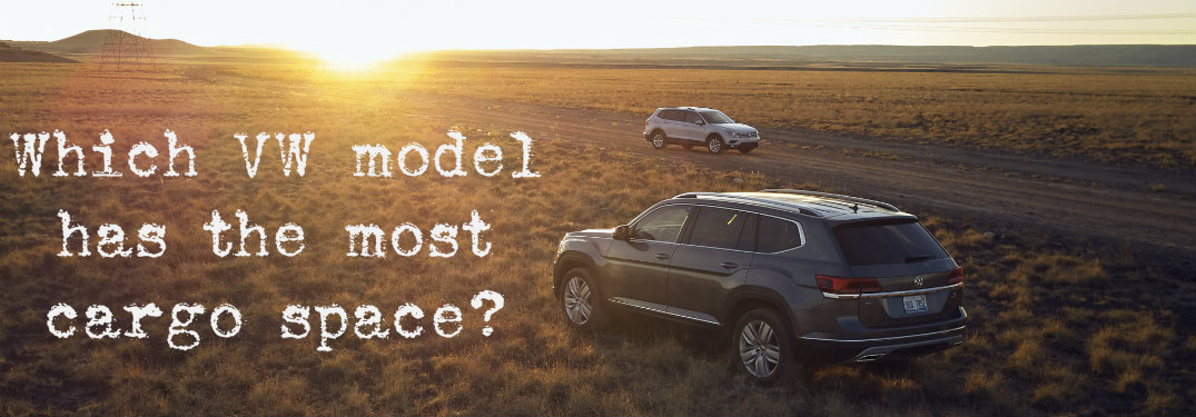 """2018 Volkswagen Tiguan and Atlas with """"which vehicles have the most cargo space"""" text"""