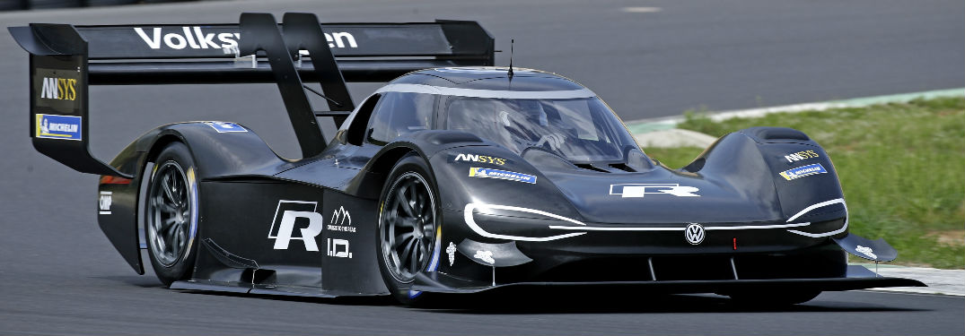 Volkswagen I.D. R Pikes Peak race car turning around track