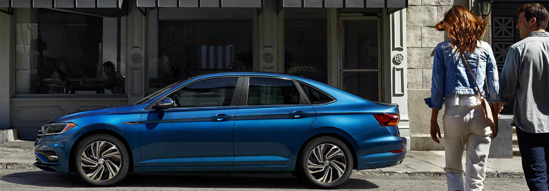 Side profile Silk Blue Metallic 2019 VW Jetta