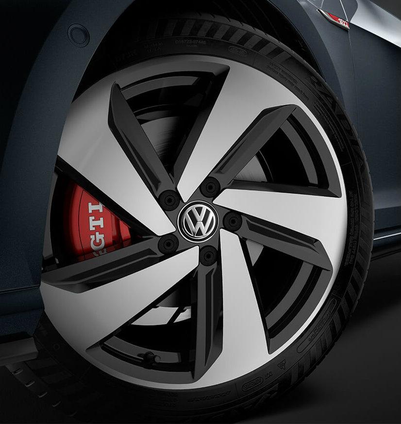 Red brake caliper on 2018 VW Golf GTI wheel