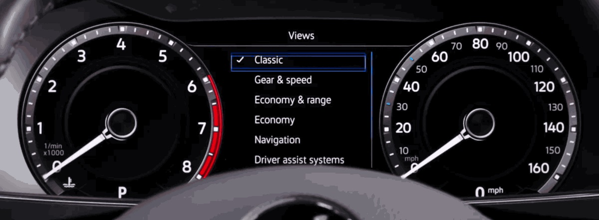 Close up of Volkswagen Digital Cockpit
