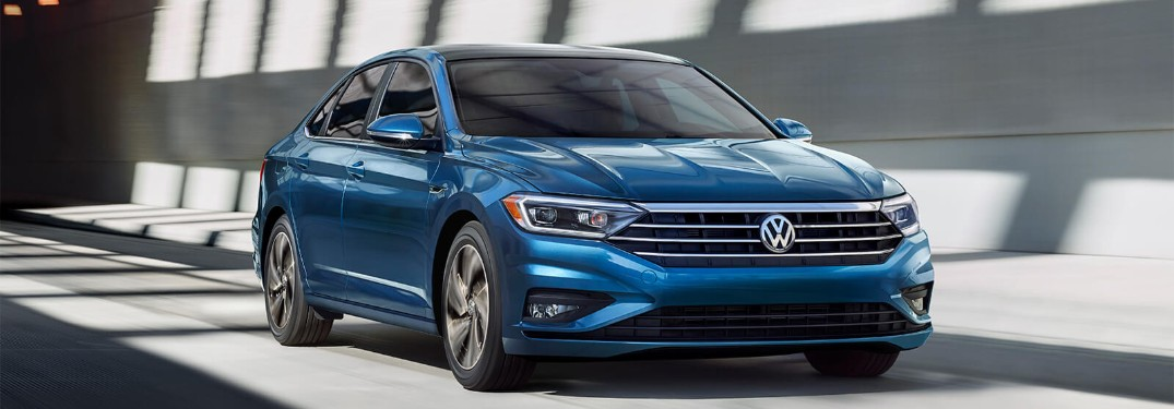 Front passenger angle of a blue 2019 Volkswagen Jetta