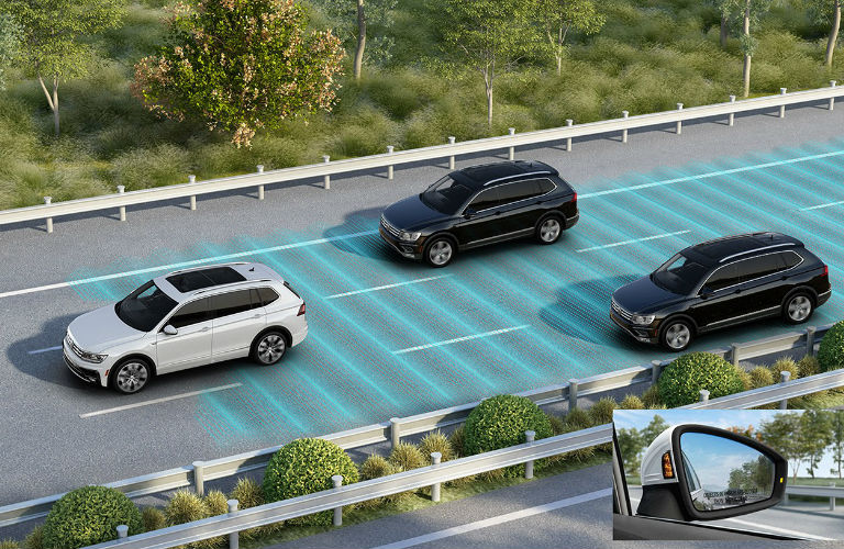 2020 Volkswagen Tiguan using the blind spot monitor