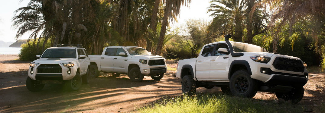 2019 Toyota 4Runner, Tundra and Tacoma TRD Pro Exterior Views in White Coloring
