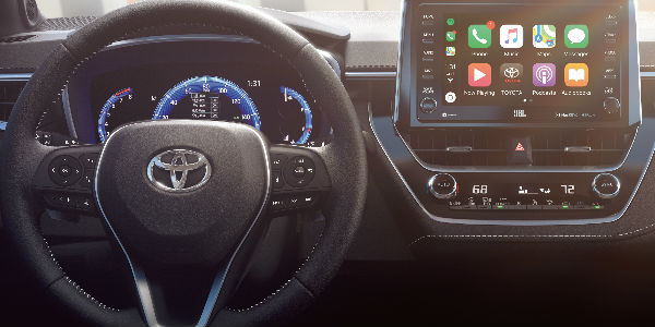2019 Toyota Corolla Hatchback Interior View of Steering Wheel and Audio Touchscreen