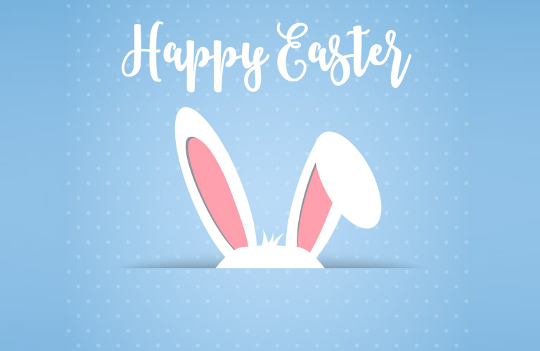 Happy Easter written on a Blue Background with Bunny Ears