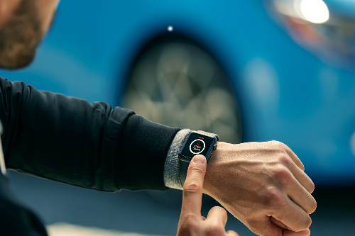 Man connecting to his 2019 Toyota Corolla Hatchback via his watch