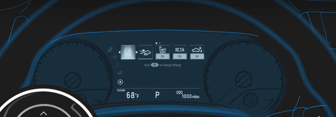 Toyota Multi-Information Display graphic with the Sway Warning Icon highlighted