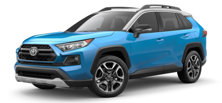2019 Toyota RAV4 in Blue Flame / Ice Edge Roof