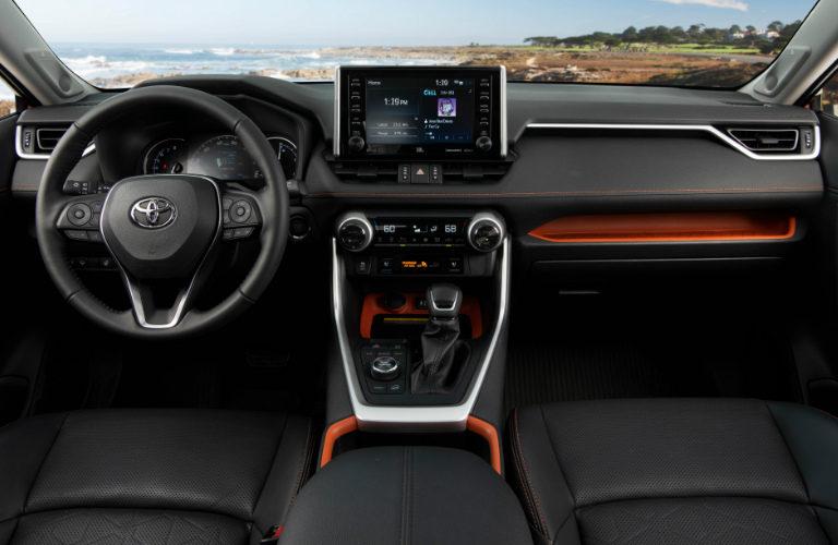 2019 Toyota RAV4 steering wheel and dashboard