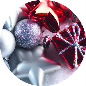 Circle image of read and silver Christmas ornaments