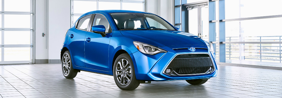 2020 Toyota Yaris Hatchback parked in a showroom